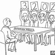 Panel interview cartoon